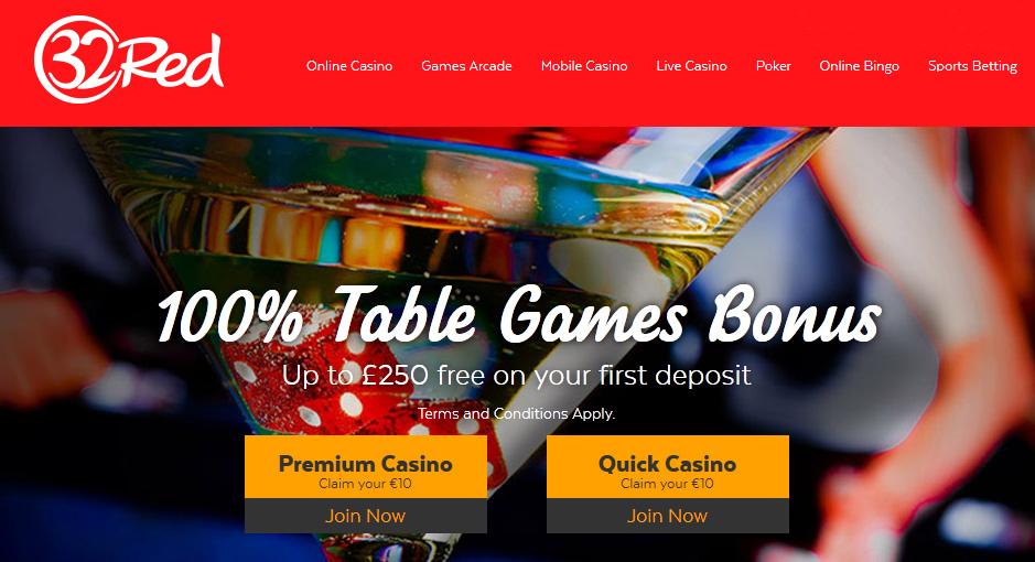 32Red Casino Table Games Bonus